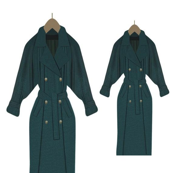 Women's Winter Coat- Trench Coat- Long Raincoat- M
