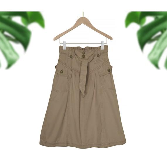 Khaki Skirt- Cargo Skirt- High Waisted Skirt- Cott