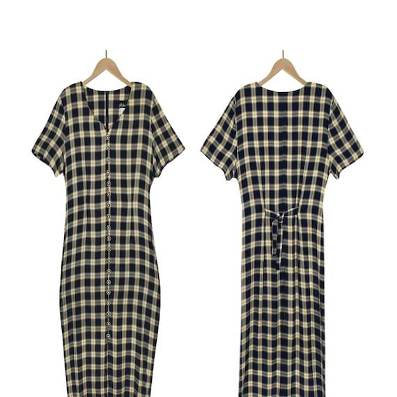 Women's Maxi Dress- Plaid Maxi Dress- Rayon Dress-
