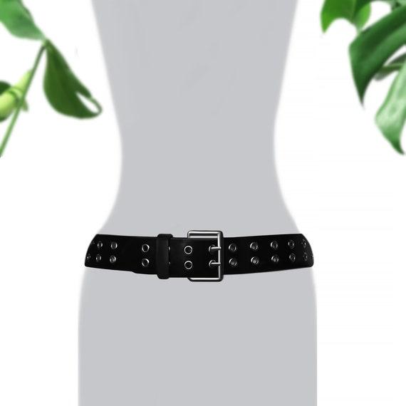 Vintage Black Leather Belt- Double Prong Belt- Gro