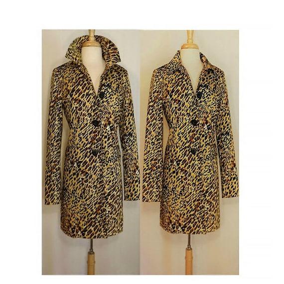 Leopard Print Coat- Long Coat- Animal Print Coat-