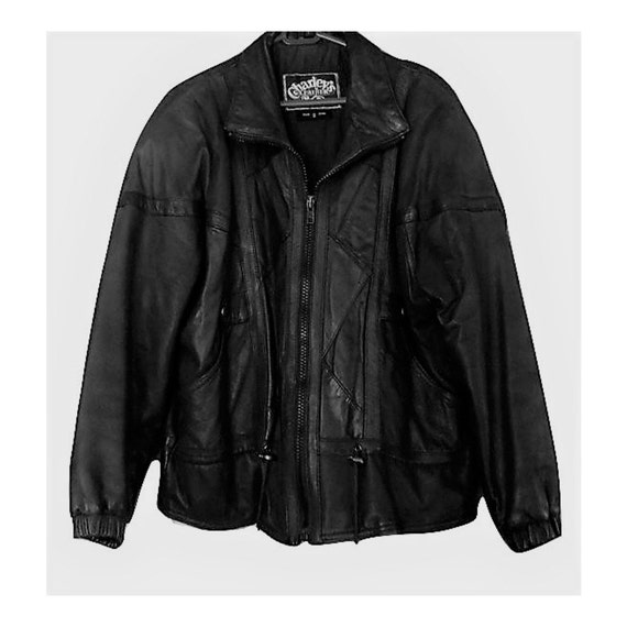Men's leather jacket, black leather jacket, motorc