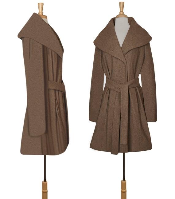 Women's Wool Coat- Wrap Coat- Belted Coat- Shawl … - image 5