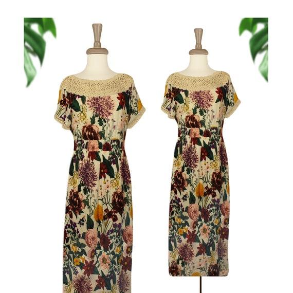Womens Midi Dress- Off The Shoulder Dress- Floral