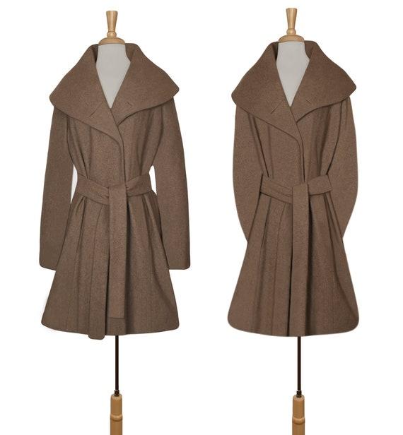 Women's Wool Coat- Wrap Coat- Belted Coat- Shawl … - image 4
