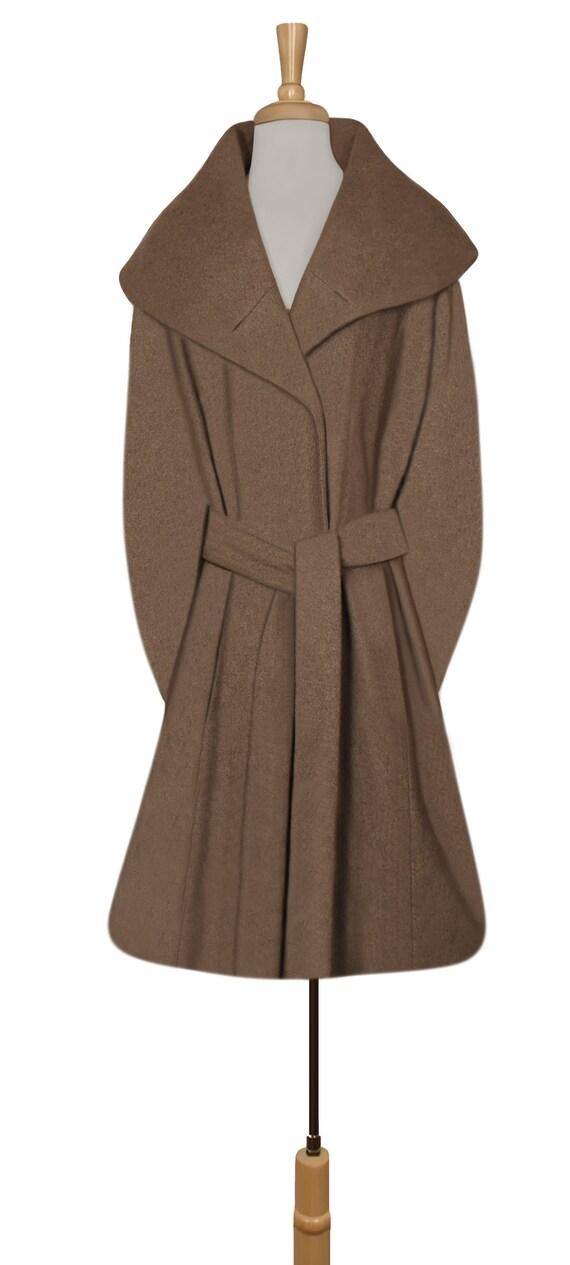 Women's Wool Coat- Wrap Coat- Belted Coat- Shawl … - image 3