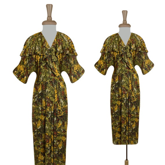 Vintage Dress- Ruffle Dress- Midi Dress- Floral Dr