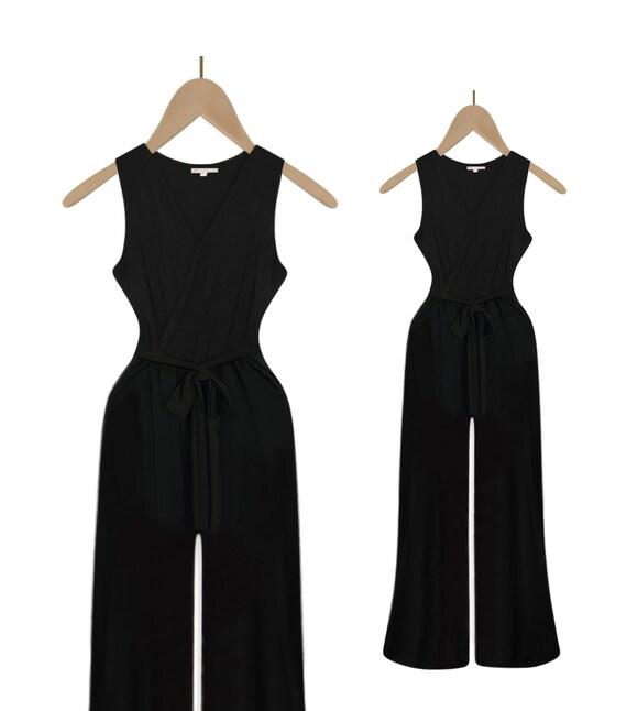 Black Romper- Black Romper Women- Maxi Jumpsuit- T