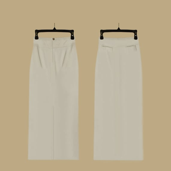 White Midi Skirt - Long White Skirt- White Denim S