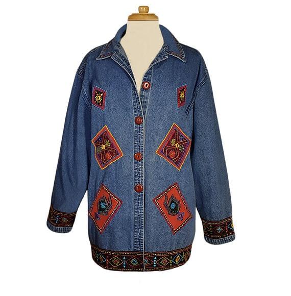 Embroidered Jean Jacket, Denim Jacket- Denim Coat-