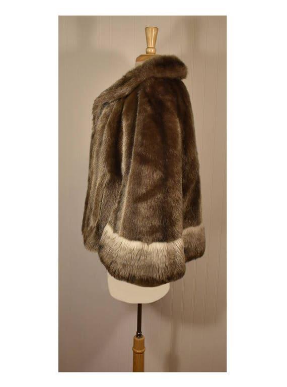 Vintage Faux Fur Cape- Fur Cape- Faux Fur Jacket-… - image 6