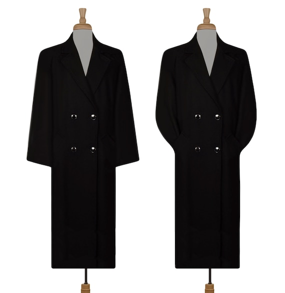 Vintage Wool Coat- Maxi Coat- Long Black Coat- Win