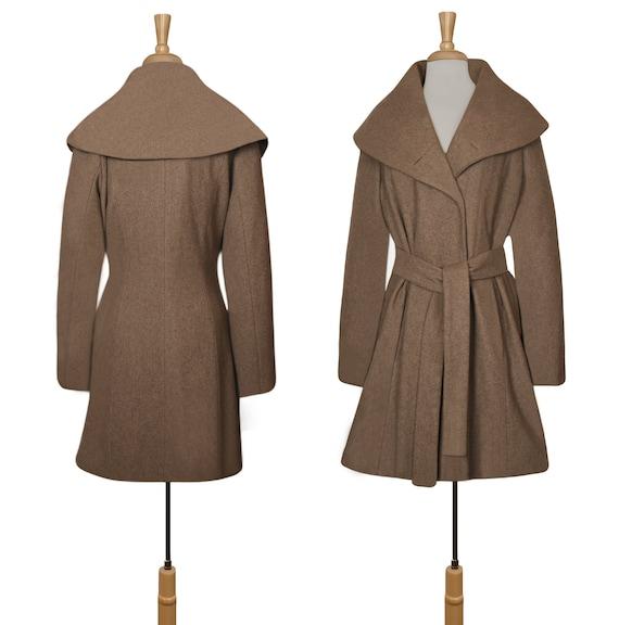 Women's Wool Coat- Wrap Coat- Belted Coat- Shawl … - image 6