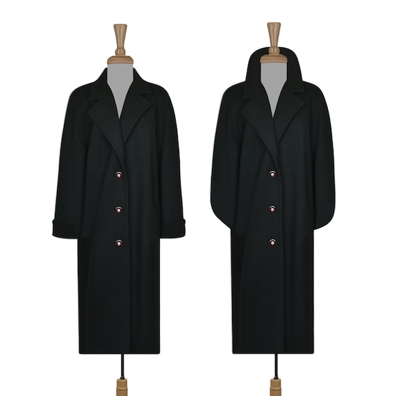 Women's Wool Coat- Maxi Coat- Long Coat- Dark Gree