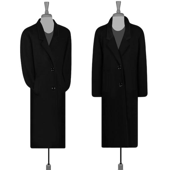 Men's Wool Coat- Vintage Overcoat- Black Coat- Lon