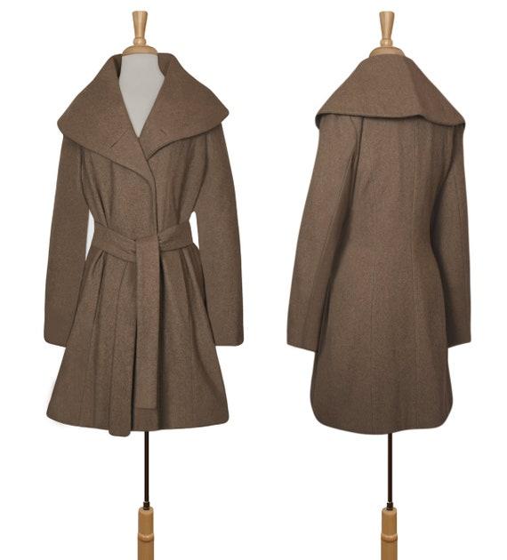 Women's Wool Coat- Wrap Coat- Belted Coat- Shawl … - image 8