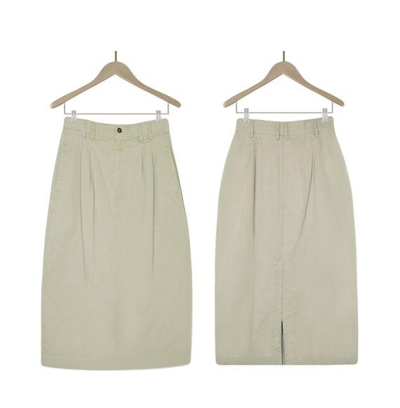 Khaki Skirt- Khaki Midi Skirt- Khaki Cargo Skirt-