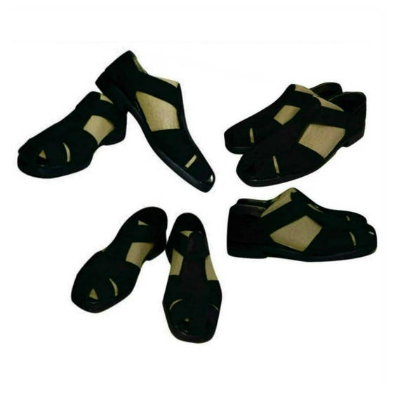 Women's sandals, strap sandals, black leather sand