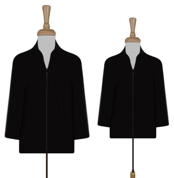 Women's Jacket- Black Silk Jacket- Quilted Jacket-