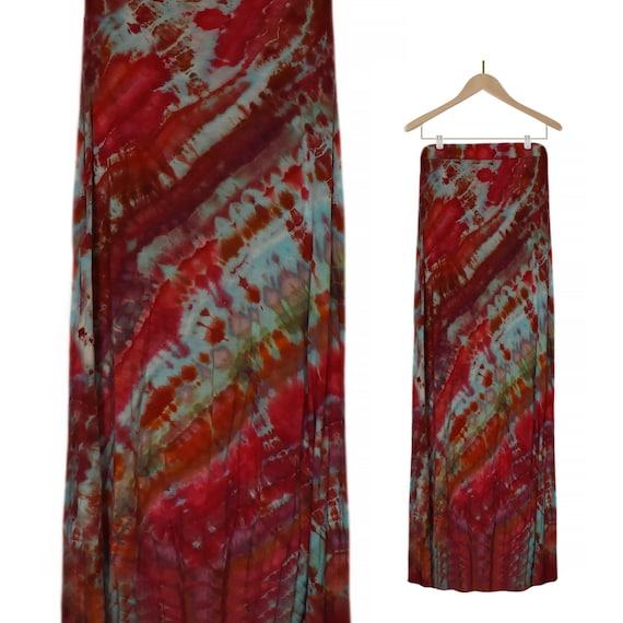 Vintage 80s Maxi Skirt- Tie Dye Skirt- Long Hippie