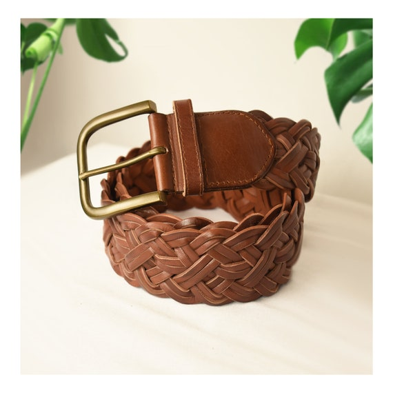 Womens Brown Leather Belt- Woven Belt- Leather Bel