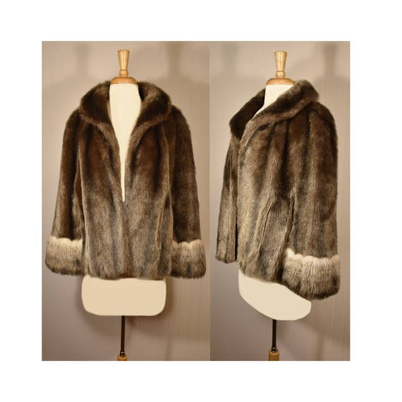 Vintage Faux Fur Cape- Fur Cape- Faux Fur Jacket-