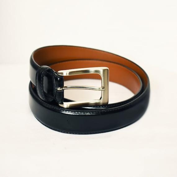 Black Leather Belt- Black Belt- Silver Buckle Belt