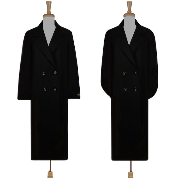 Womens Wool Coat- Black Maxi Coat- Long Black Coat