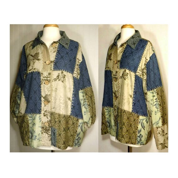 Vintage Patchwork Jacket- Women's Coat- Patchwork