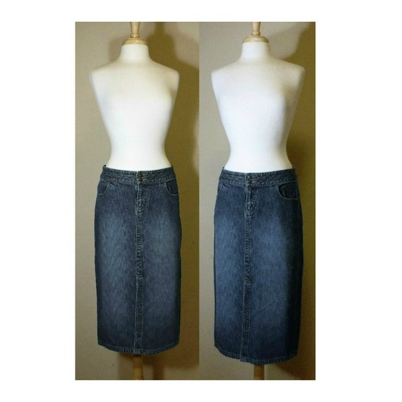 Jean Skirt- Long Jean Skirt- Denim Skirt- Long Den