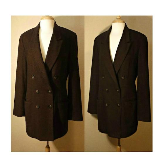 Women's Vintage Coat- Wool Coat- Wool Pea Coat- Bu