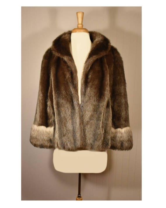 Vintage Faux Fur Cape- Fur Cape- Faux Fur Jacket-… - image 2