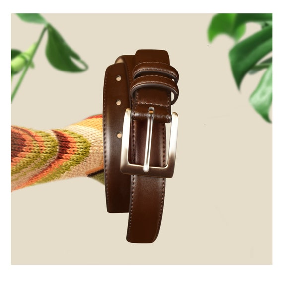 Brown Leather Belt- Brown Belt- Leather Belt- Silv