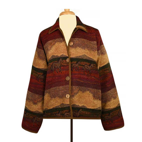 1363385db67 Womens Vintage Coat Tapestry Coat Western Coat Carpet Coat