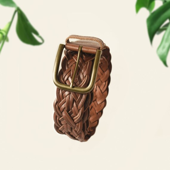 Womens Brown Leather Belt- Woven Belt- Leather Be… - image 2