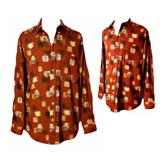 Mens Button Up Shirt- Tribal Shirt Men- Casual Shi