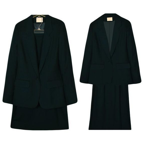 Winter Suit- Wool Suit- Wool Suit Dark Green- Skir