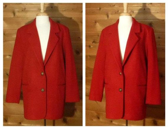 Red Wool Jacket- Red Coat Women- Winter Coat- Red