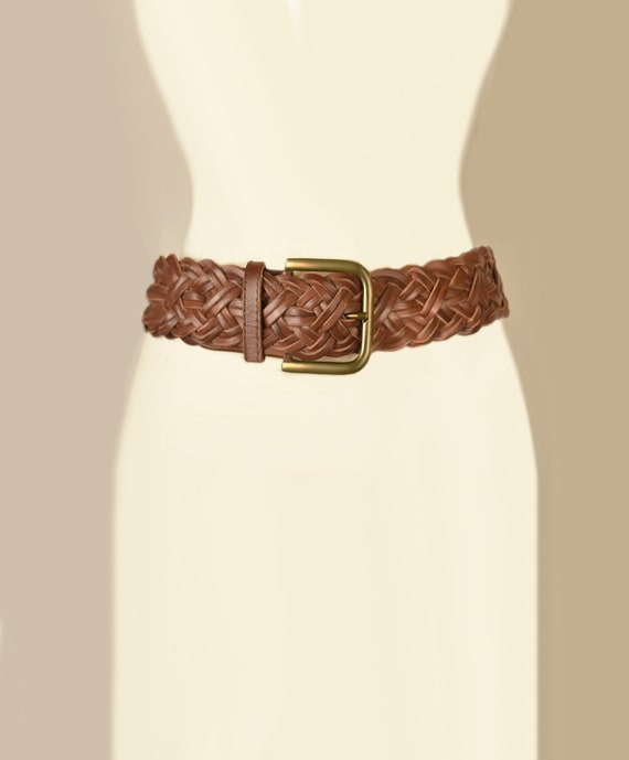 Womens Brown Leather Belt- Woven Belt- Leather Be… - image 3