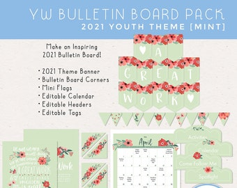 2021 YW Bulletin Board, LDS Youth Theme A Great Work D&C 64:33-34 Young Women [Printable Instant Download]