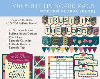 2022 YW Bulletin Board, LDS Youth Theme: Trust in the Lord, Banner, Calendar, Headers, Tags and More! [Printable Instant Download] Blue