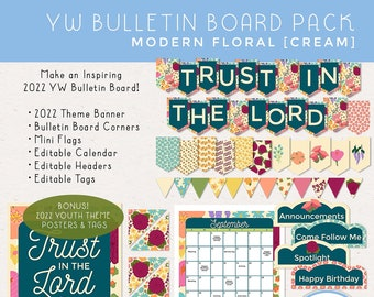 Trust in the Lord 2022 YW Bulletin Board Classroom Pack, LDS Youth Theme, Banner, Calendar, Headers, Tags [Printable Instant Download] Cream