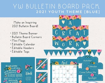 LDS Young Women Bulletin Board Pack 2021 Youth Theme A Great Work [Printable Instant Download]