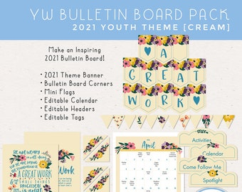 LDS Young Women 2021 Youth Theme Bulletin Board Pack A Great Work [Printable Instant Download]