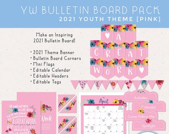 2021 Youth Theme A Great Work D&C 64:33-34 2021 Bulletin Board Pack for LDS Young Women [Printable Instant Download]