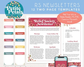 LDS Relief Society Newsletter Templates 12 Months, Edit in Adobe Reader, PS, PSE, Canva or Microsoft Word! [Digital Download]