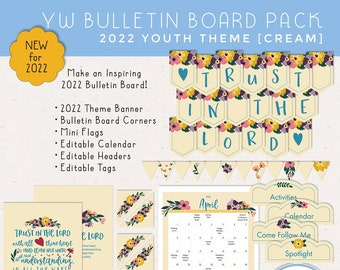 LDS YW Bulletin Board Pack, Trust in the Lord, Banner, Corners, Header, Calendar, Tags and Mini Flags, Digital Download [Cream]