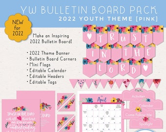 Pink LDS YW Bulletin Board Pack, Trust in the Lord, Banner, Corners, Header, Calendar, Tags and Mini Flags, Digital Download, Printable