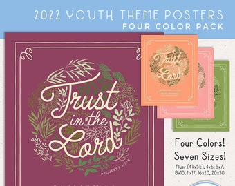 Trust in the Lord 2022 LDS Youth Theme Poster Pack: 4 Colors, 7 Sizes, JPEG & PDF, Young Women [Digital Download]