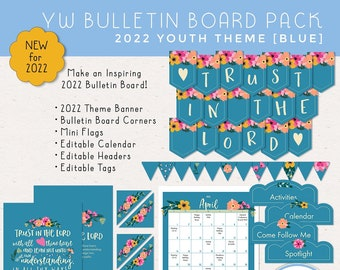 2022 Trust in the Lord Bulletin Board Pack, LDS Young Women Youth Theme, Classroom Decor Pack [Printable Instant Download] Blue